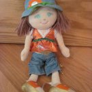 Russ Berrie Jordana Plush 14 Inch Doll Gold Sandals Belt Denim Capris Orange Shirt 22325