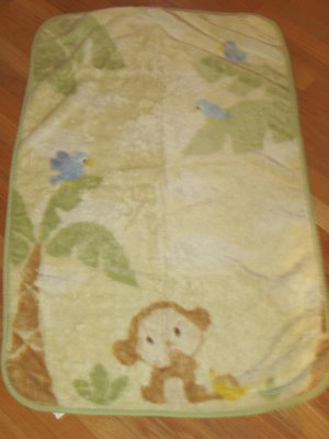 Carters Thick Cream Fur Luxe Monkey Banana Safari Palm Tree Bird Baby Blanket