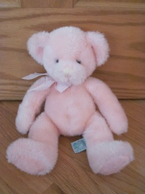 Russ Berrie 12 Inch Pink Rory Teddy Bear Rattle Plush Toy Gingham Ribbon 9275