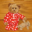 Target Galerie Plush Brown Bear in Red & White Heart Footie Pajamas Pjs
