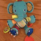 Bright Starts Bunch-O-Fun Plush Multi Color Activity Elephant Squeak Rattle Teether Toy