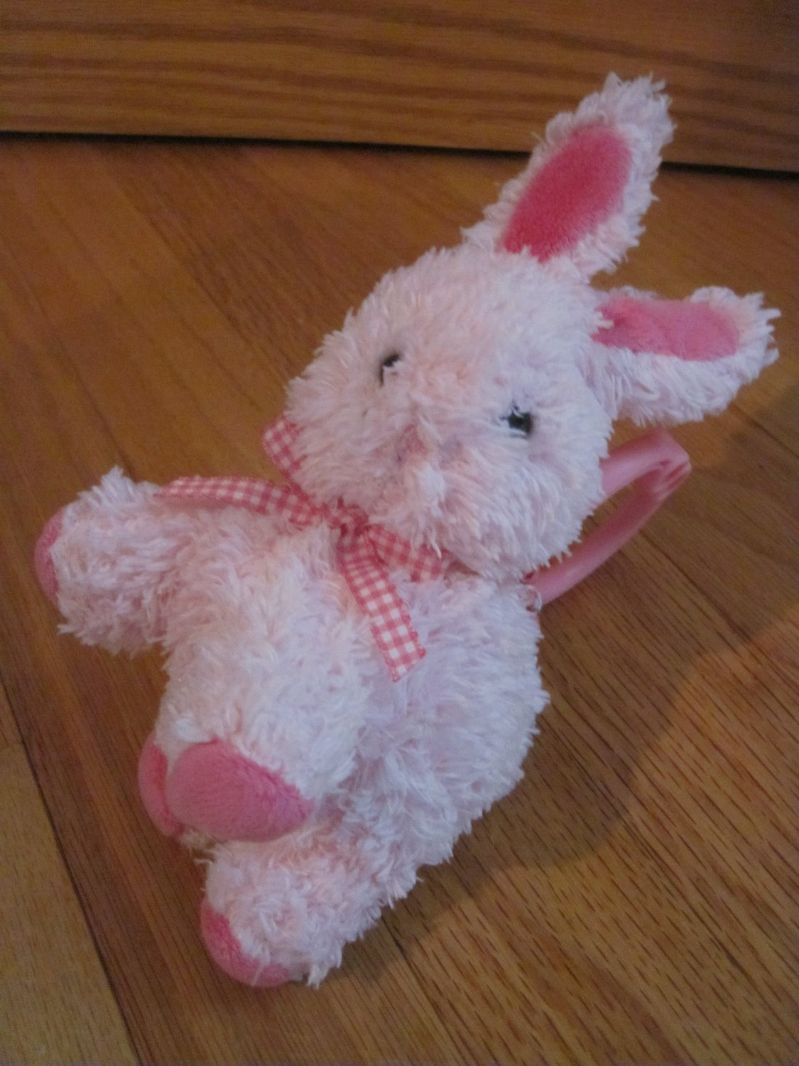 Carters Child of Mine Pink Bunny Rabbit 87343 Giggle Laugh Hanging Vibrating Toy Gingham Bow