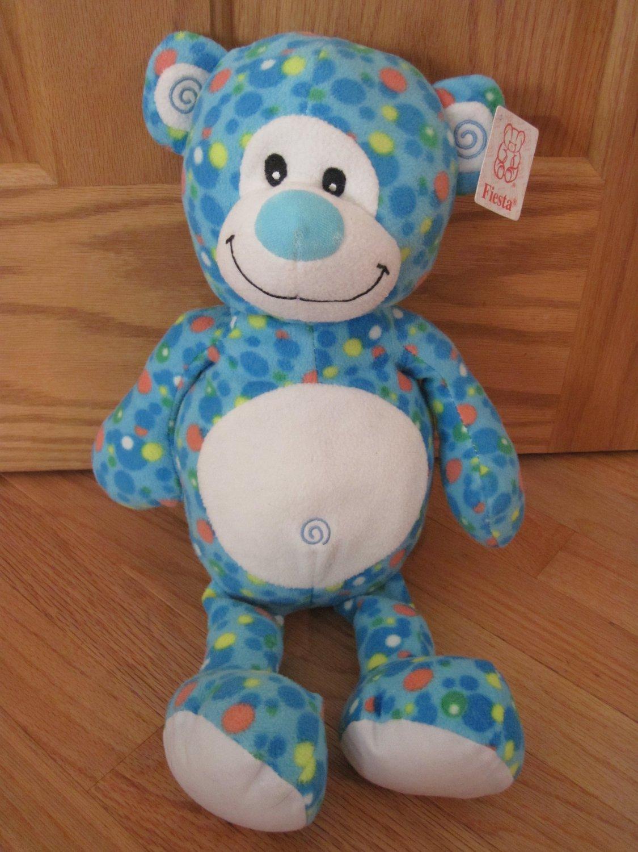 Fiesta Blue Plush Blip Teddy Bear C13709 Polka Dots Spots Swirl Ears Belly Button
