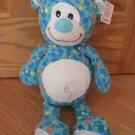 Fiesta Blue Plush Blip Teddy Bear C13709 Polka Dots Spots Swirl Ears Belly Button