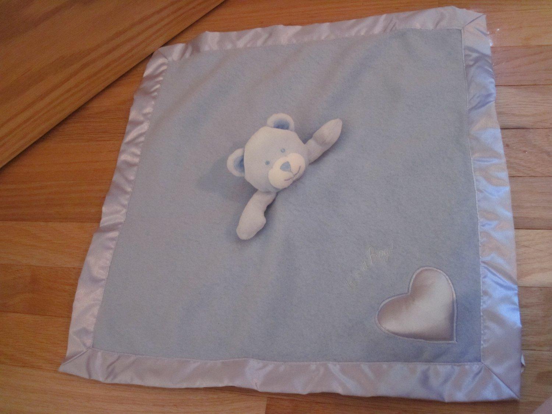 Baby Boom It's A Boy Blue Fleece Satin Teddy Bear Security Blanket Lovey Heart Musical