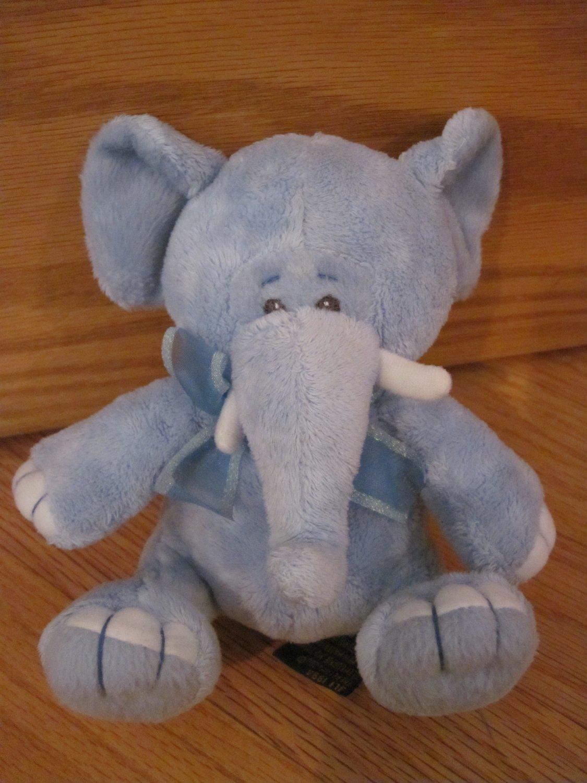 The Petting Zoo Blue Elephant Plush Rattle Baby Toy White Tusks Nails