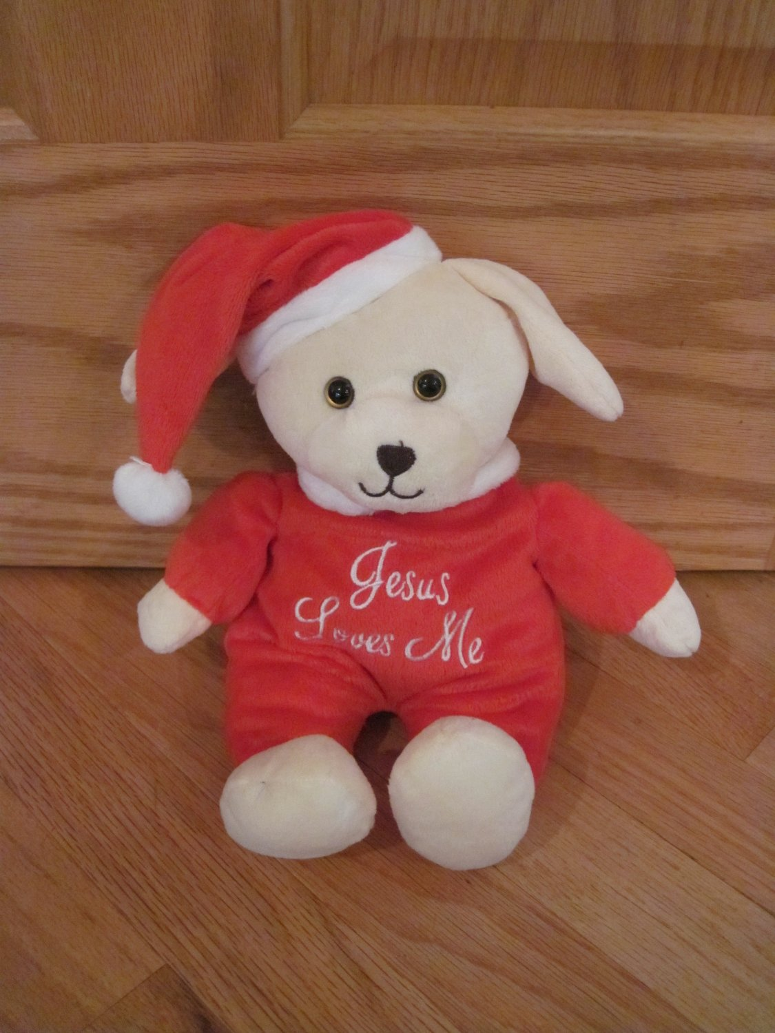 DanDee Cream Plush Singing Jesus Loves Me Puppy Dog Plush Toy Red Santa Suit Hat Christmas Toy
