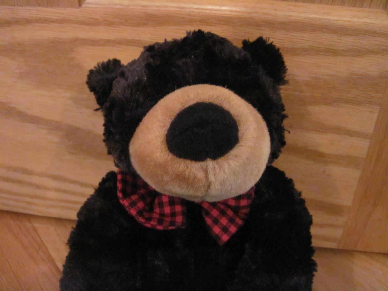 "Princess Soft Toys Black Teddy Bear Red & Black Gingham Plaid Bow Tie 16"" Plush Toy"