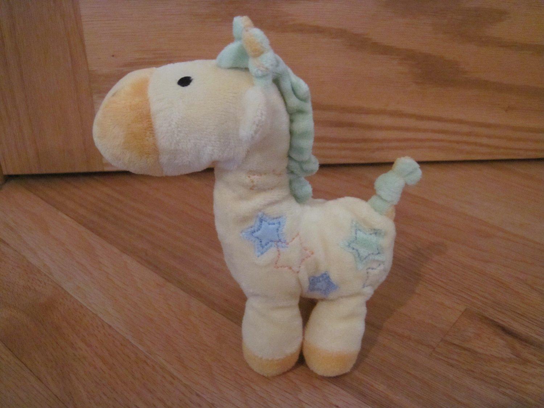 "Carters Just One Year Yellow 7"" Plush Giraffe Plush Rattle Toy Stars Style 98684"