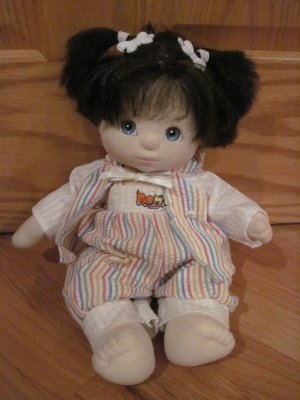 Vintage 1985 My Child Doll Brown Short Hair Blue Eyes Rainbow Striped Seersucker Outfit