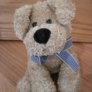 World Market Tan Beige Barking Puppy Dog with Blue Gingham Plaid Ribbon Bow Black Nose