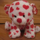 Ty Pluffies Teddy Bear named Dreamsy White with Red Hearts with Tags
