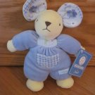 Nounours by Best Every Toys Plush Blue Velour Floral Bleuet Mouse Rattle
