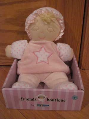 Kids Preferred Soft Pink & White Polka Dot Star Doll Velour Closed Eyes Blond Hair