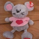 Ty Classics Pluffies Gray Mouse with Pink Heart Shirt Named Pitter 2005