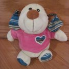 Kellytoy Cream Yellow Puppy Dog Brown Ears Pink Shirt Blue Stripe Heart Ears