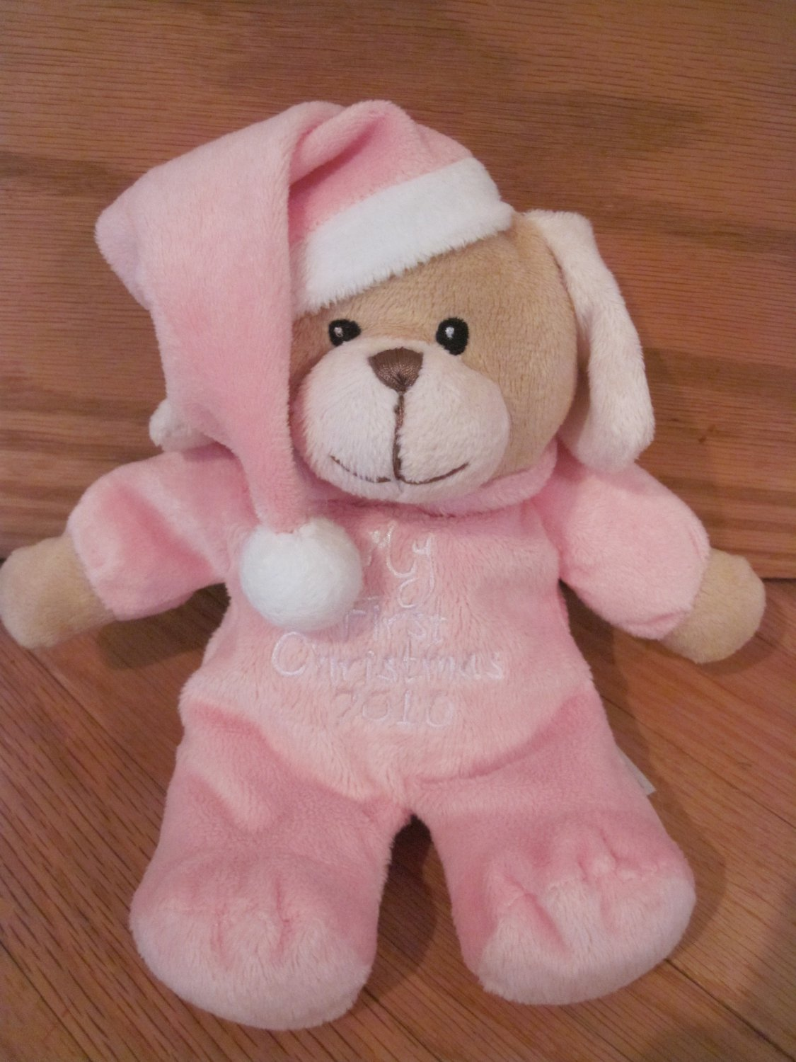 Dandee Collectors Choice My First Christmas 2010 Pink Plush Puppy Dog with Hat