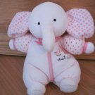 Carters Pink Terry Cloth Sweet Heart Elephant Bell Rattle Baby Toy Polka Dots 76116