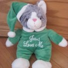 DanDee Gray Plush Kitty Cat Singing Jesus Loves Me Green Santa Pajamas Hat Christmas Toy