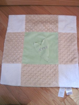 Wishes Kisses Sandra Magsamen White Tan Green Patchwork MinkyDot Satin Heart Security Blanket H21286