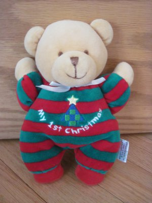 Soft Dreams My 1st First Christmas Teddy Bear Red Green Velour Stripe Pajamas Plush Rattle 87134