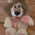 Animal Adventure Plush Lion Brown Hair Orange Gingham Plaid Hands Feet Bow