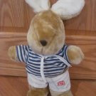 Vintage 1987 Commonwealth Plush Tan Beige Bunny Rabbit Sailor Outfit Blue White Stripe Shirt Shorts