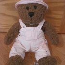 Baby Gap Brown Curly Plush Bear Black Stitched Eyes Nose Pink Bib Overalls Hat