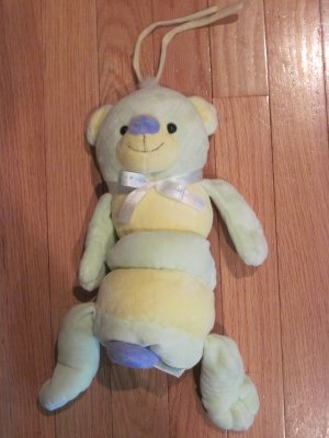 Carters Tykes Yellow & Green Cuddly Cute Teddy Bear Plush Musical Crib Pull Toy
