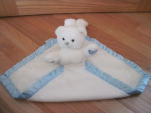 My Banky by Lori Turner White Plush Teddy Bear Security Blanket Lovey Blue Satin Hearts Baby Hugs