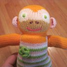BlaBla Kids Clementine the Knit Monkey Orange Pink Green Stripe Plush Toy
