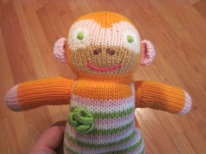 BlaBla Kids Clementine the Monkey Orange Pink Green Stripe Knit Plush Toy