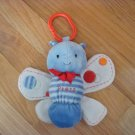 Carters Just One Year Blue Butterfly Dragonfly Bug Light Up Musical Hanging Toy Stripes Dots