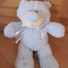 Kellytoy Plush Blue Chenille Teddy Bear Cream Snout Blue Nose Cream Sheer Bow