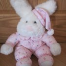 Commonwealth Plush White Bunny Rabbit Pink Fleece Pajamas Cap Hat Stars Moon Sheep
