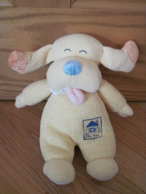 Carter Yellow Chenille Emu Namae Going Home Puppy Dog Baby Rattle Plush Toy 33749
