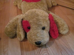 Target Corporation Beige Brown Tan &amp; Red Plush Laying Puppy Dog 78775