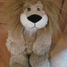 Animal Adventure Plush Beige Tan Laying Lion Fluffy Mane Leopard Spot Ribbon Flat Feet