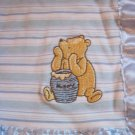 Classic Winnie the Pooh Blue White Stripes Lovey Security Blanket Honey Pot