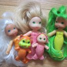 Vintage Kenner 1978 See Wees TropiGals Mermaid Dolls Baby Pet Kitty Cat