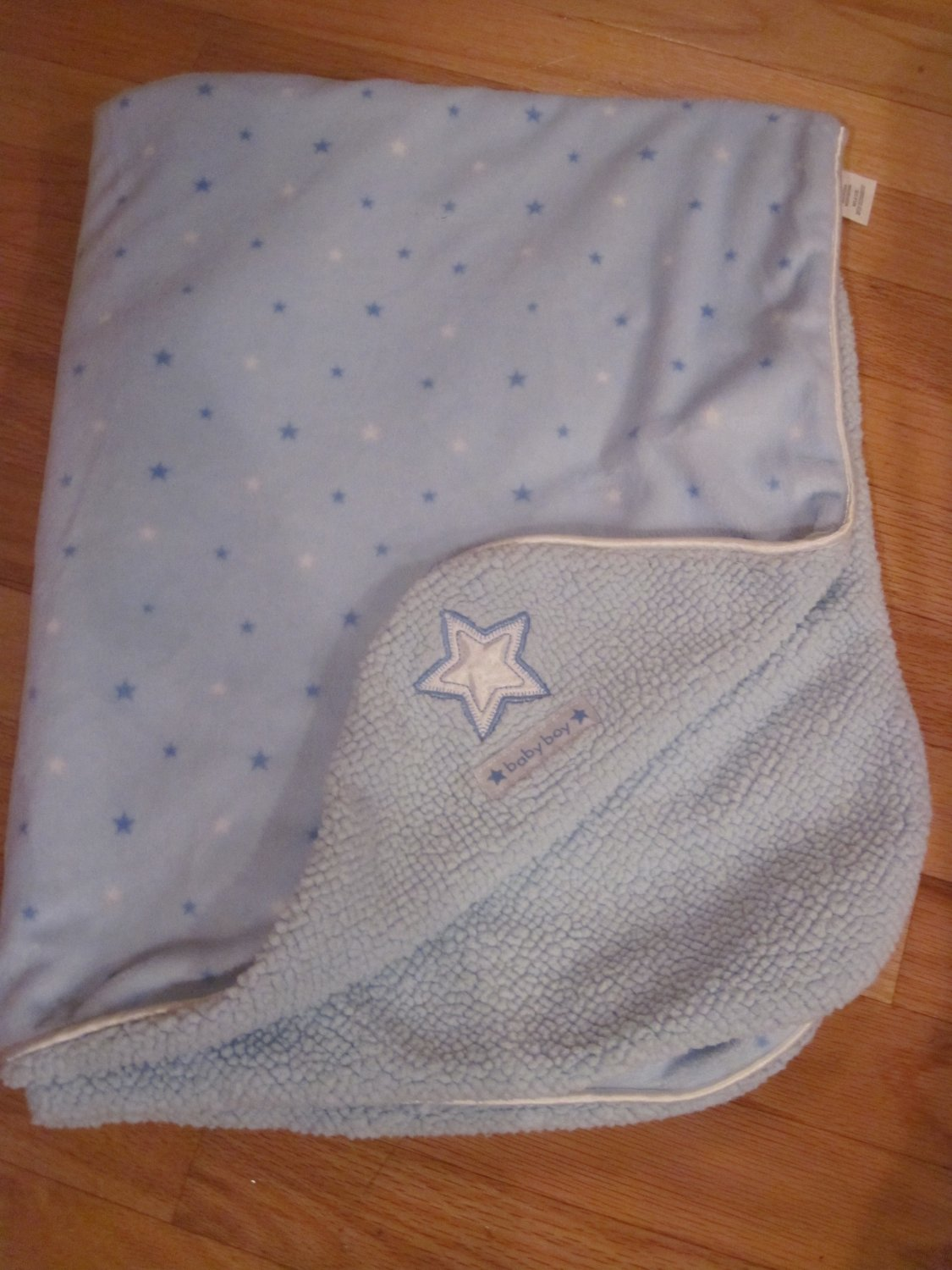 Carters Just One Year Blue And White Minky Sherpa Baby Boy