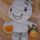 Hallmark Little Rasghouls Halloween Plush Gray Talking Mummy with Pumpkin