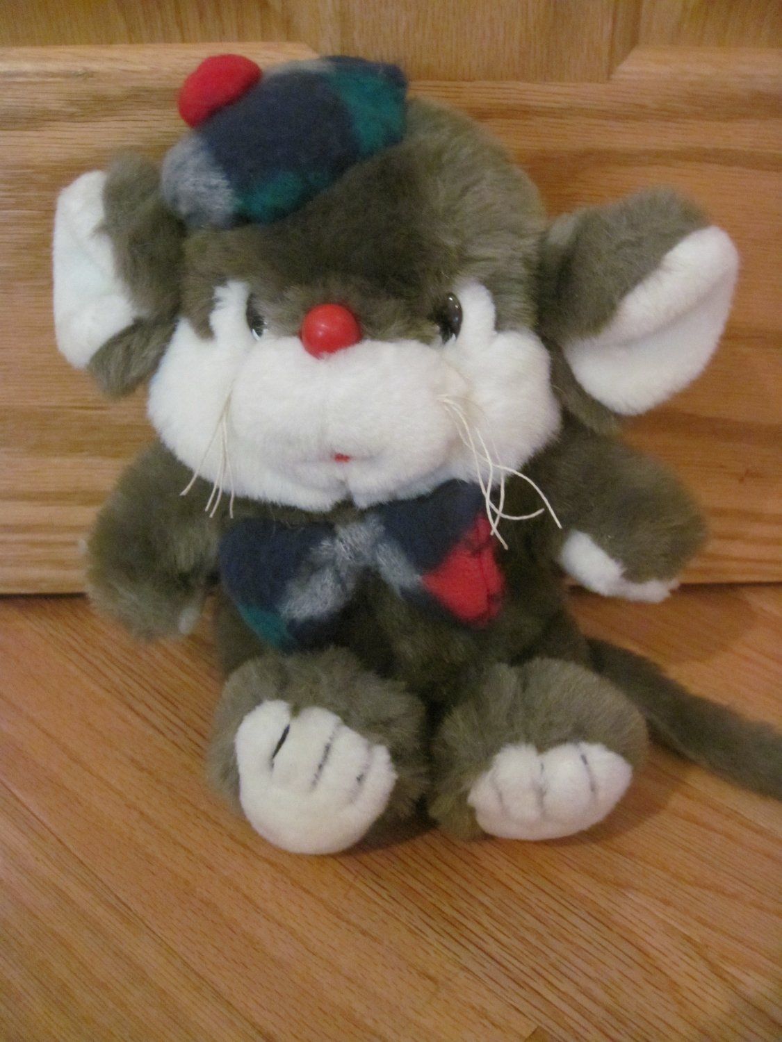 Vintage Target Plush Christmas Squeakers Mouse Toy Squeaky Ear Plaid