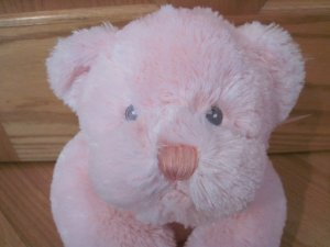 Baby Ganz Pink 17 Inch Plush Cuddles Bear BG485 Laying Position Sheer Ribbon