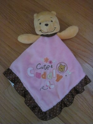 Disney Baby Winnie the Pooh Cute &amp; Cuddly Pink Brown Ruffle Satin Dot Security Blanket Lovey D22722H