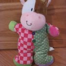 Russ Berrie Jiggle Brights Cow Plush Baby Toy Rattle Checkerboard Dots 34787