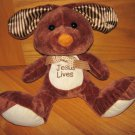 Goffa Brown Plush Bunny Rabbit Stripe Ears Jesus Lives Tummy Polka Dot Bow Ribbon