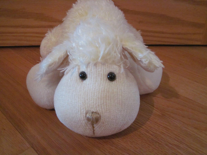 Hobby Lobby Plush Yellow Cream Lamb Sheep Chenille Knit
