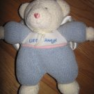 Soft Dreams Cram Little Angel Bear Blue Chenille Knit Satin Wings Rattle Toy 34026