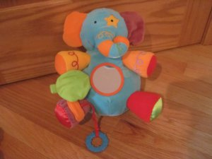 Manhattan Toy Carousel Blue Activity Elephant Rattle Plush Toy Crinkle Teether  FLAW